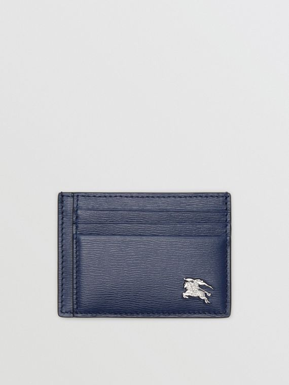 Porta carte di credito in pelle London con fermasoldi (Navy)