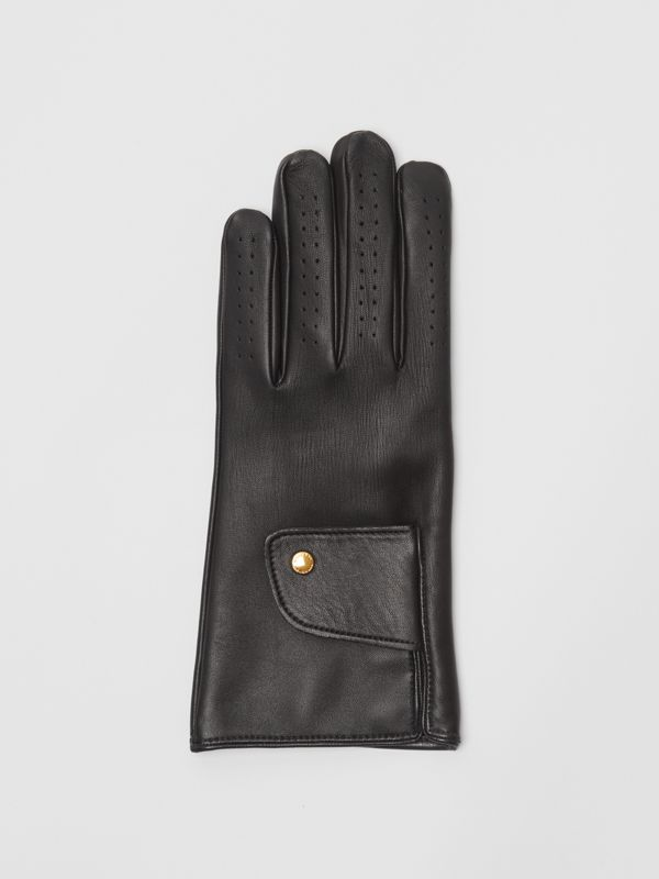 Cashmere-lined Lambskin Gloves in Black | Burberry - cell image 2