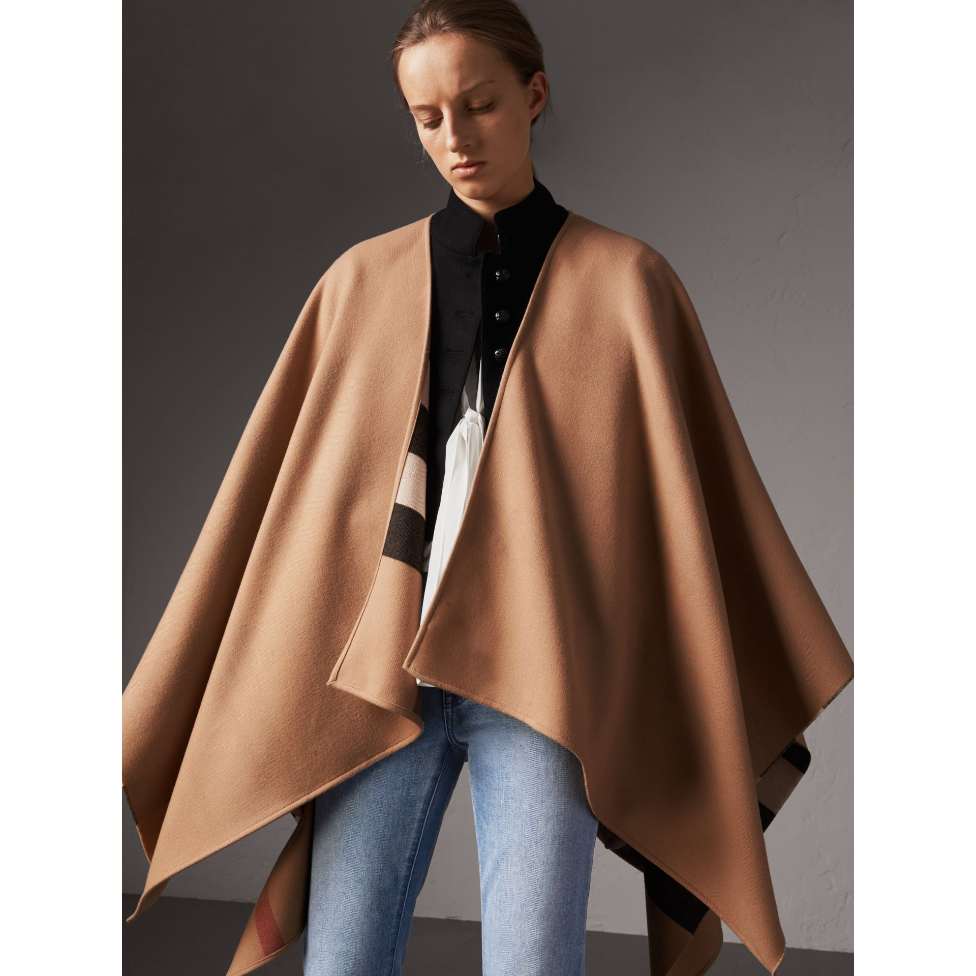 Brand new Reversible Check Merino Wool Poncho in Camel - Women | Burberry BU29