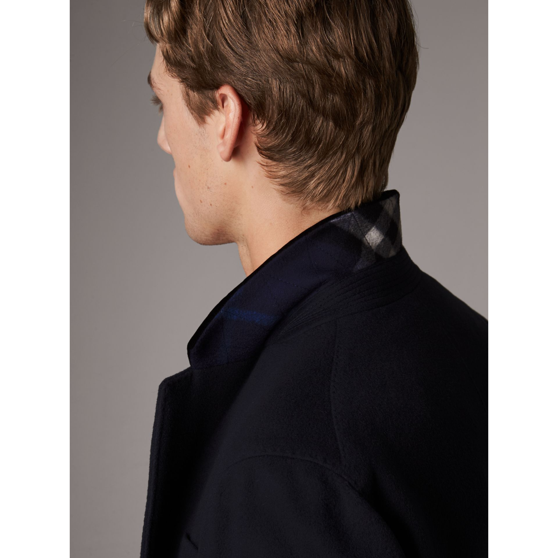 Velvet Collar Wool Cashmere Coat in Navy - Men | Burberry United Kingdom - gallery image 1