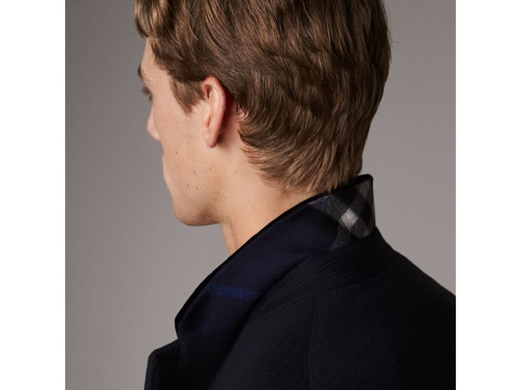 Velvet Collar Wool Cashmere Coat in Navy - Men | Burberry United Kingdom - cell image 1