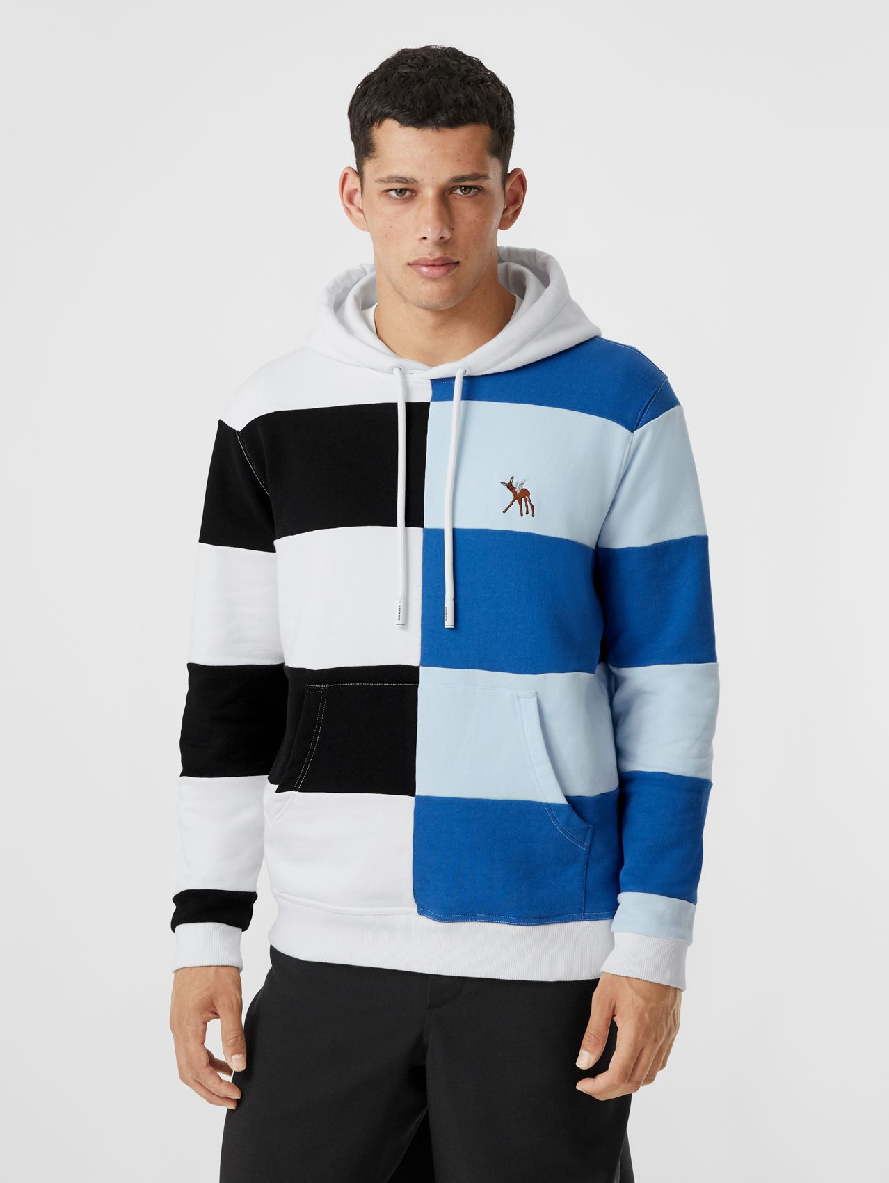 Deer Motif Colour Block Cotton Hoodie in Black/white