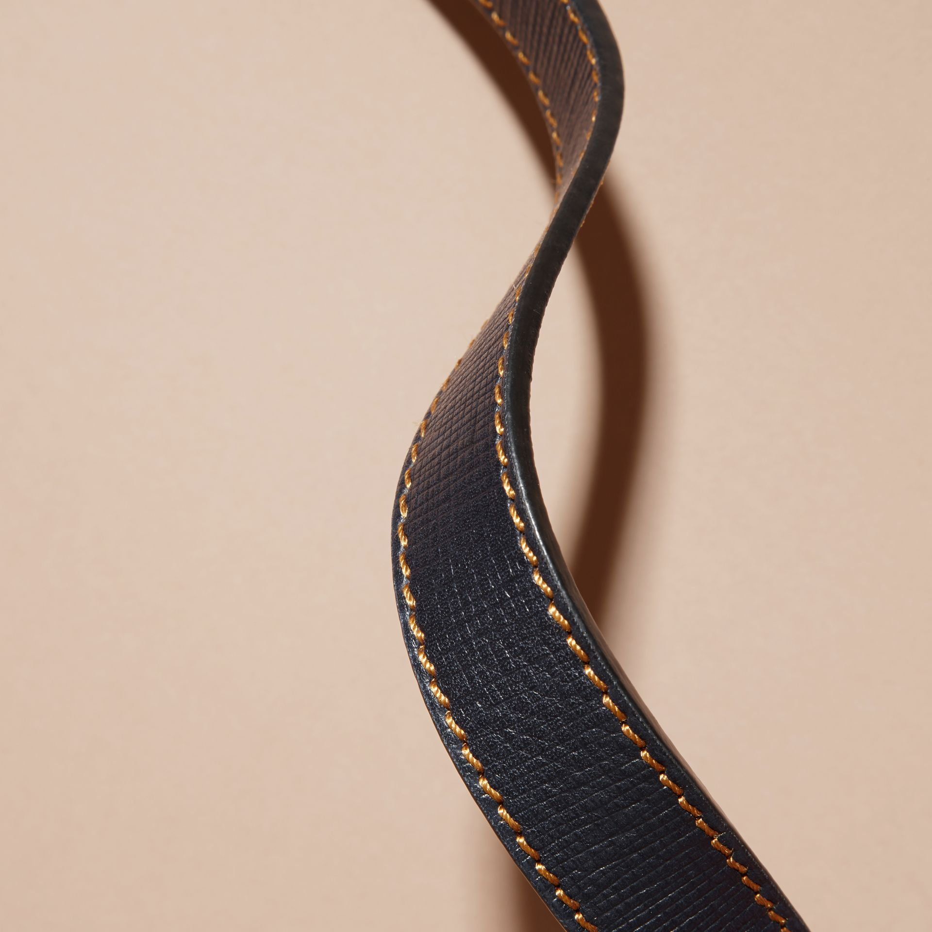 Dark navy Textured Leather Belt with Topstitch Detail Dark Navy - gallery image 3
