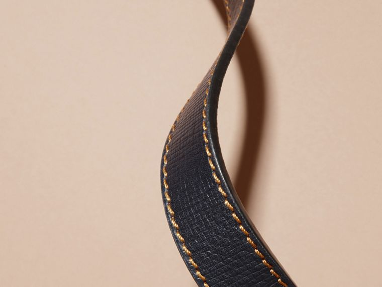 Dark navy Textured Leather Belt with Topstitch Detail Dark Navy - cell image 2