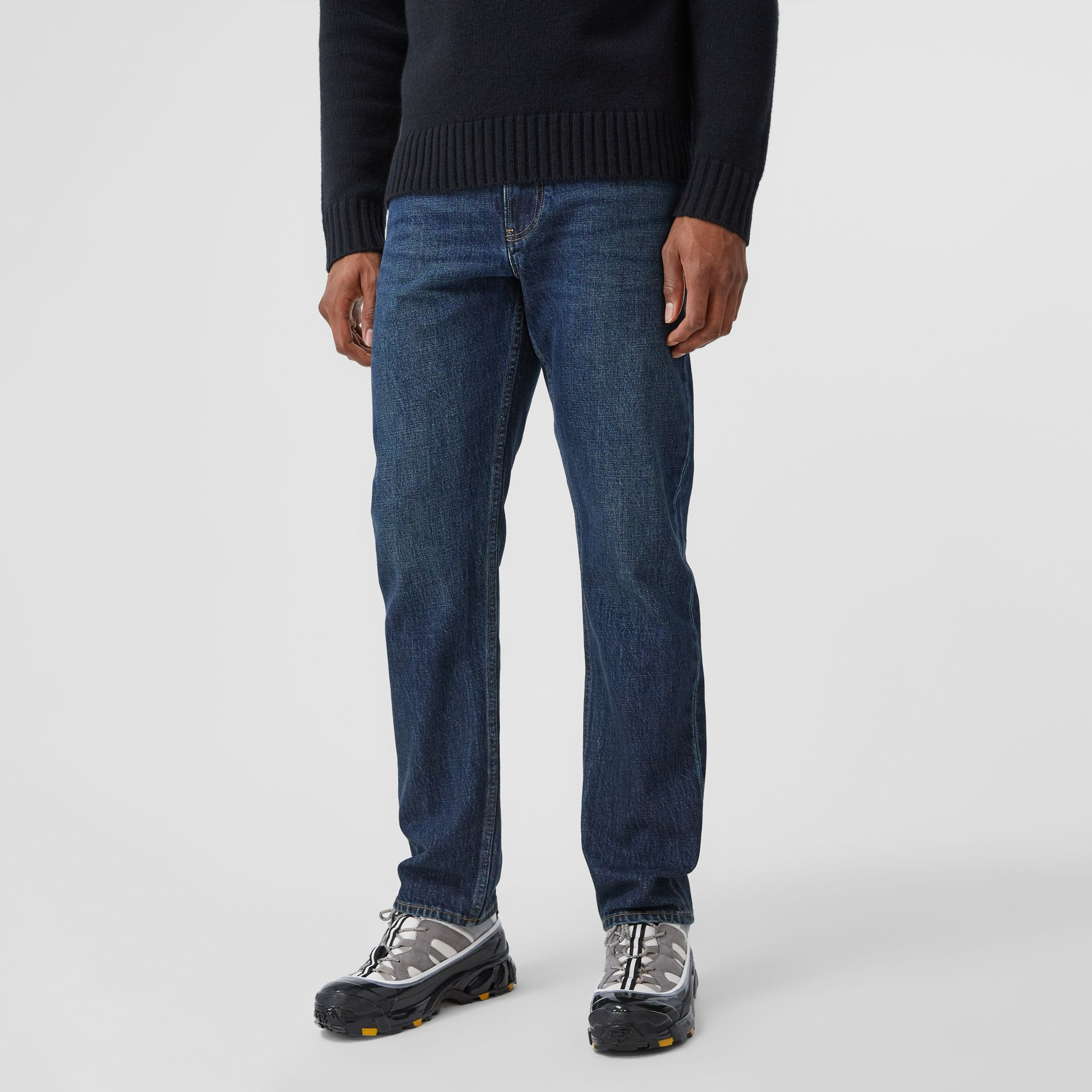 Straight Fit Washed Jeans in Dark Indigo - Men | Burberry - gallery image 4