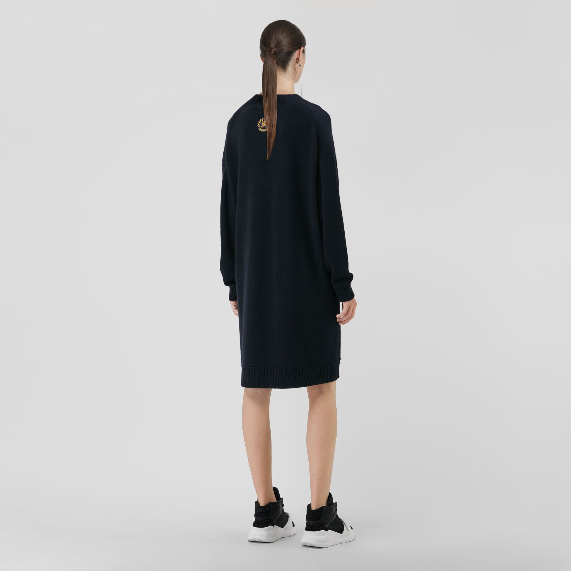 Cashmere Sweater Dress in Navy - Women | Burberry Australia - gallery image 2
