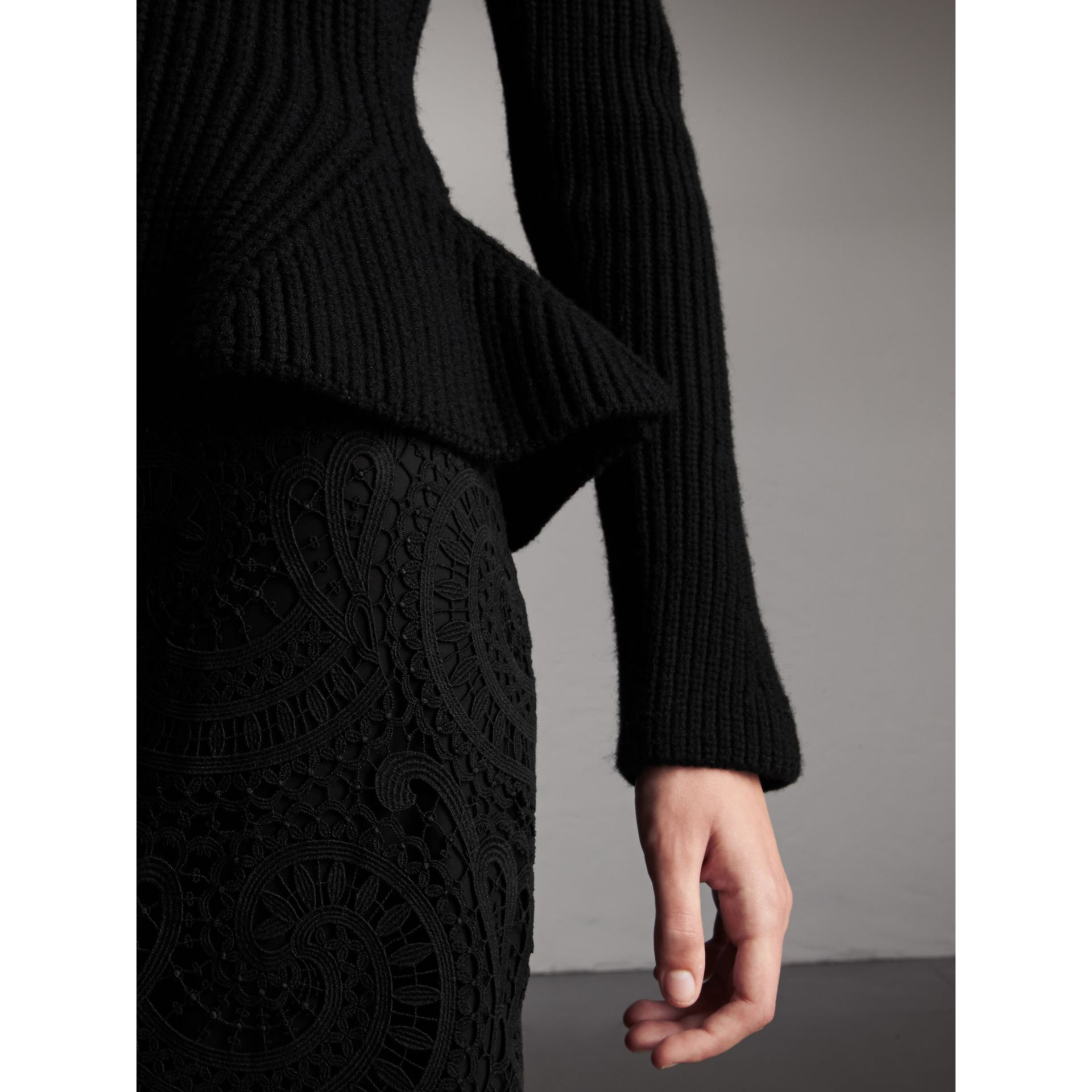 Knitted Wool Cashmere Blend Peplum Jacket in Black - Women | Burberry - gallery image 2