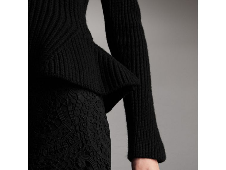 Knitted Wool Cashmere Blend Peplum Jacket in Black - Women | Burberry - cell image 1