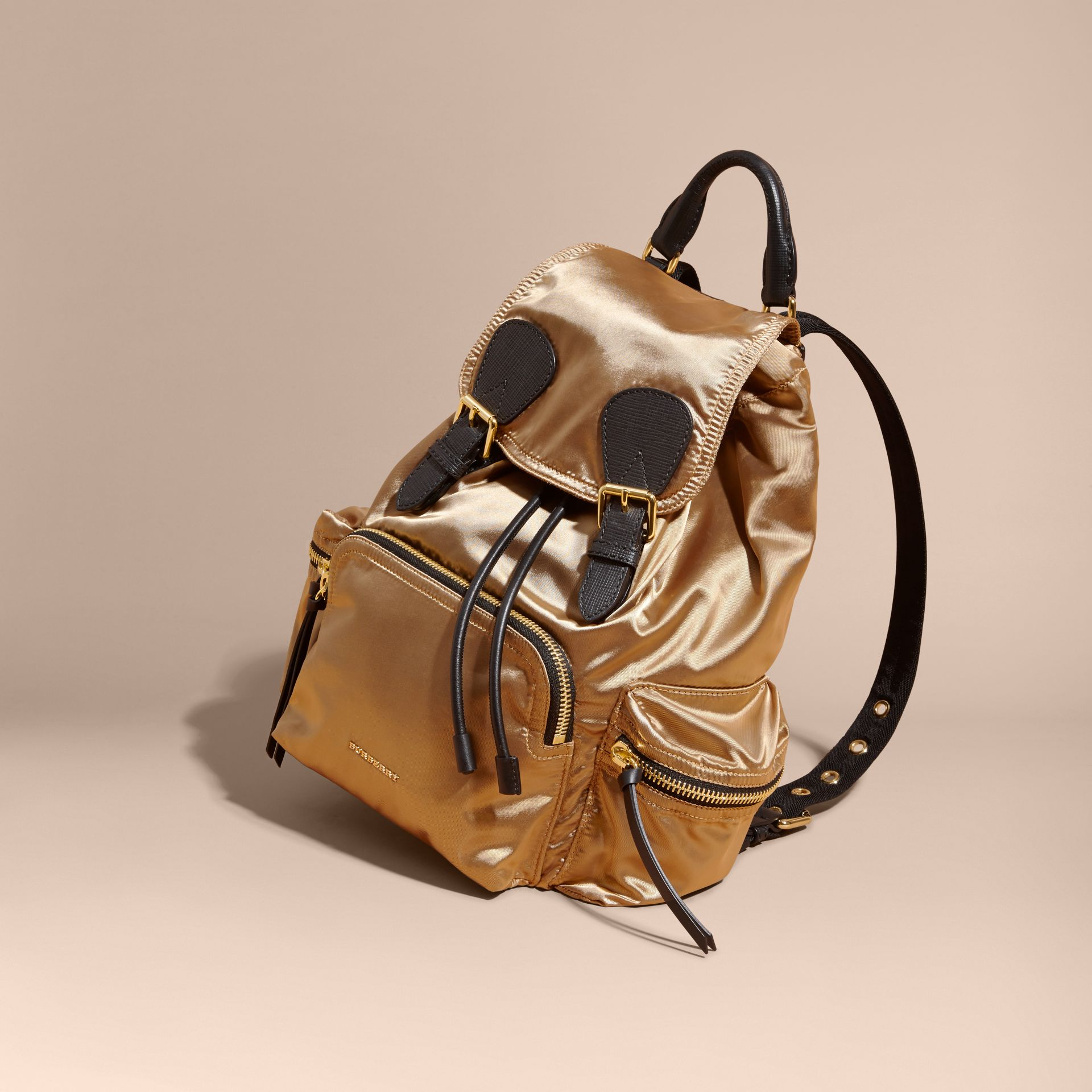 The Medium Rucksack in Two-tone Nylon and Leather Gold/black - gallery image 7