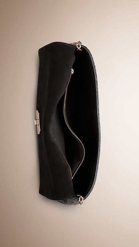 Black Medium Signature Grain Leather Clutch Bag - Image 5