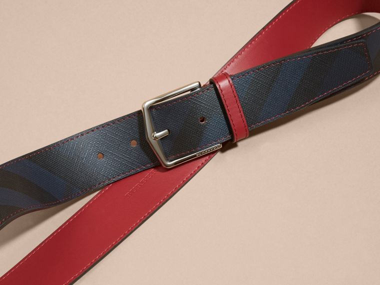 Topstitch Detail Leather Trim London Check Belt in Parade Red - cell image 2