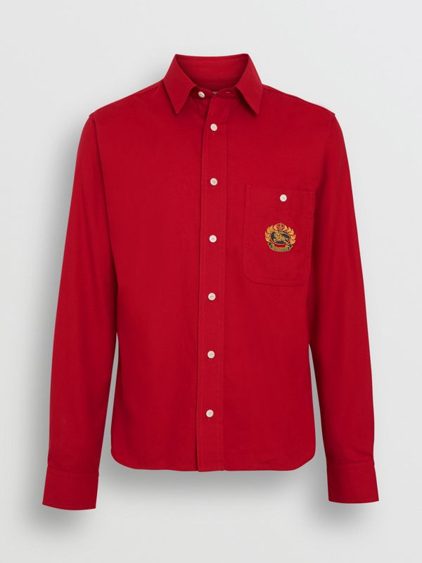 Embroidered Crest Flannel Shirt in Poppy Red - Men | Burberry - cell image 3