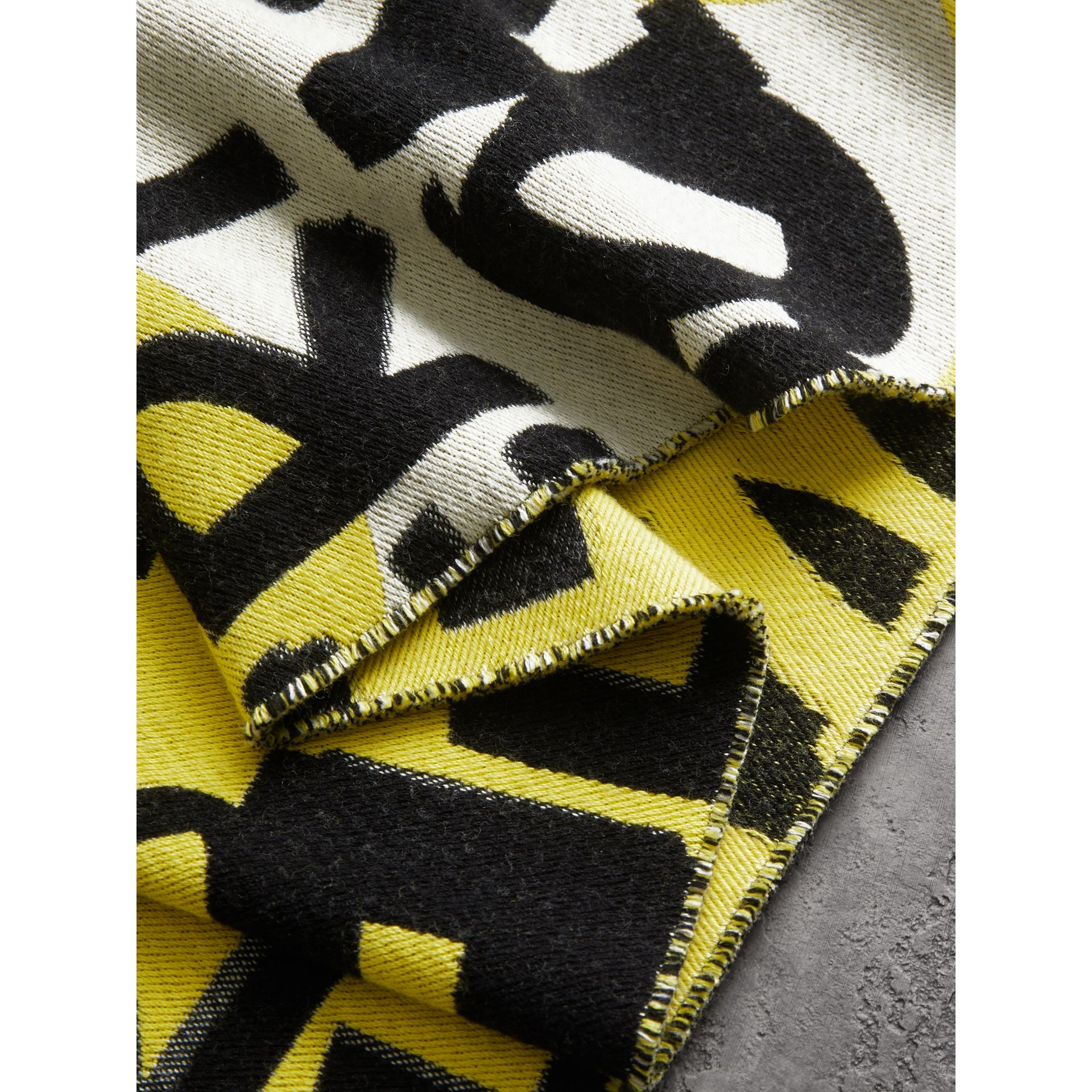 Graffiti Cotton Jacquard Scarf in Bright Yellow | Burberry - gallery image 1