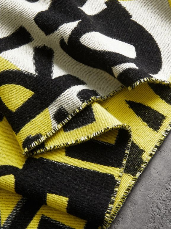 Graffiti Cotton Jacquard Scarf in Bright Yellow | Burberry - cell image 1