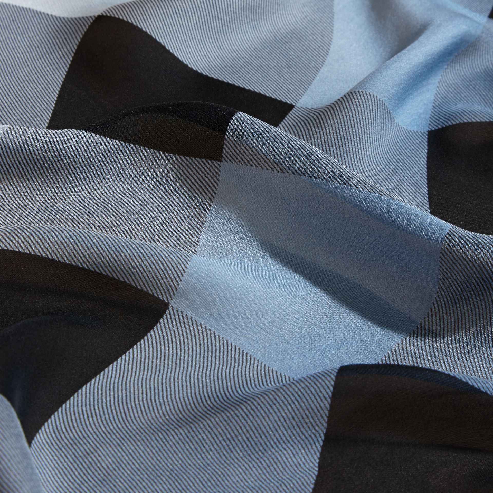 Ombré Washed Check Silk Scarf Dusty Blue - gallery image 2
