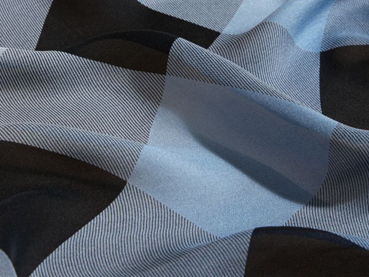 Ombré Washed Check Silk Scarf in Dusty Blue - cell image 1