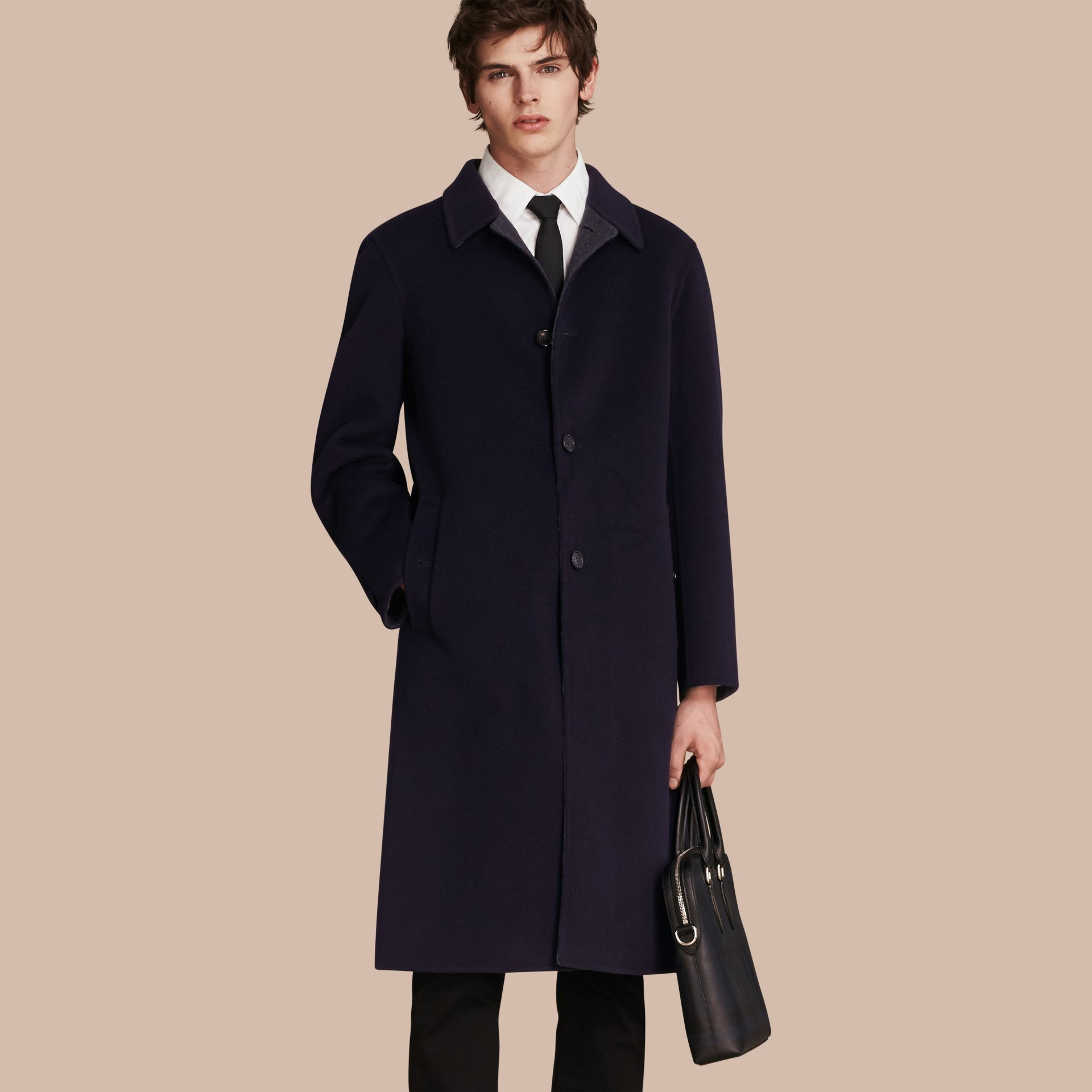 Navy Double-faced Wool Car Coat - gallery image 1