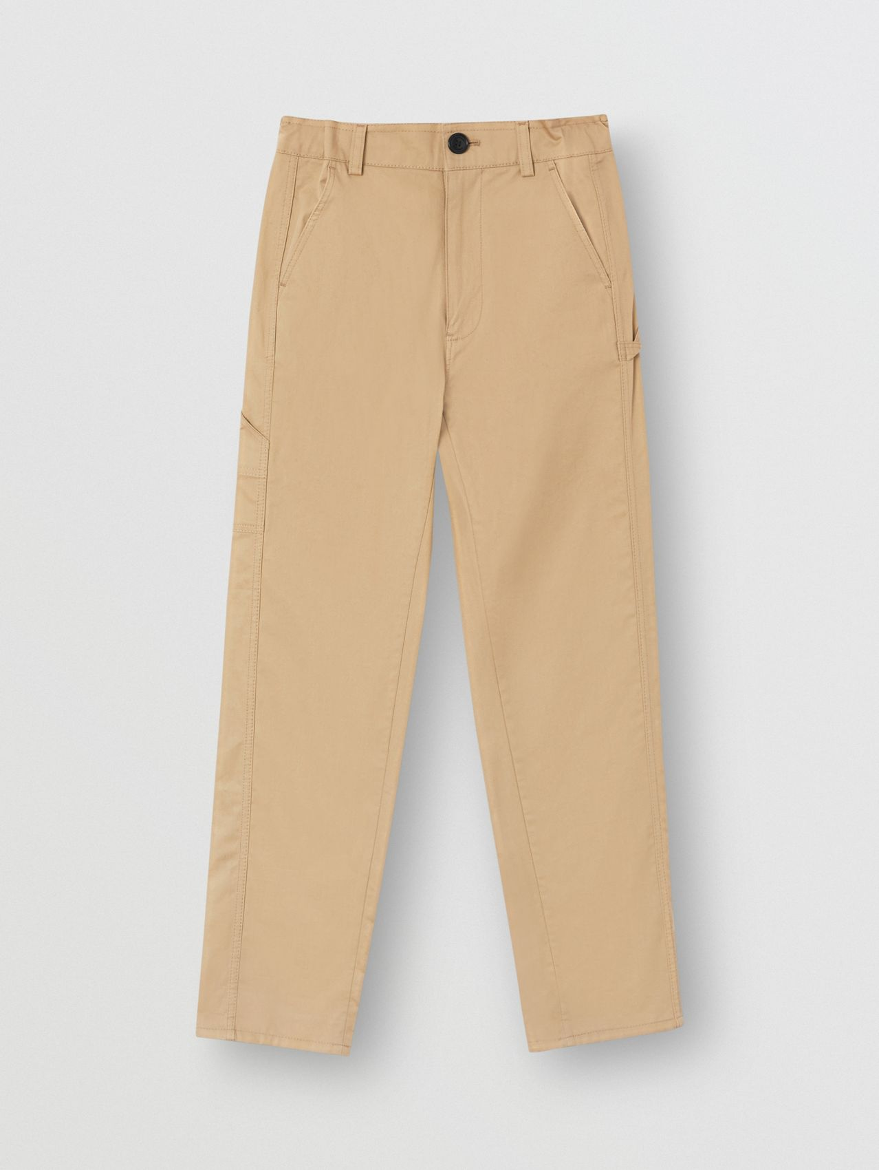 Logo Detail Cotton Twill Trousers in Honey