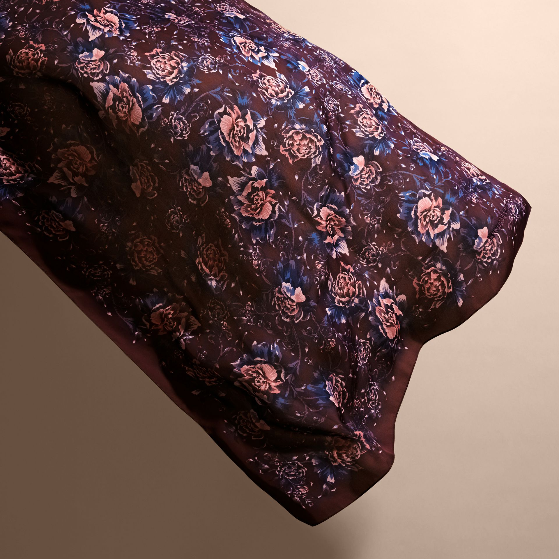 Peony Rose Print Silk Scarf in Deep Claret - Women | Burberry - gallery image 4