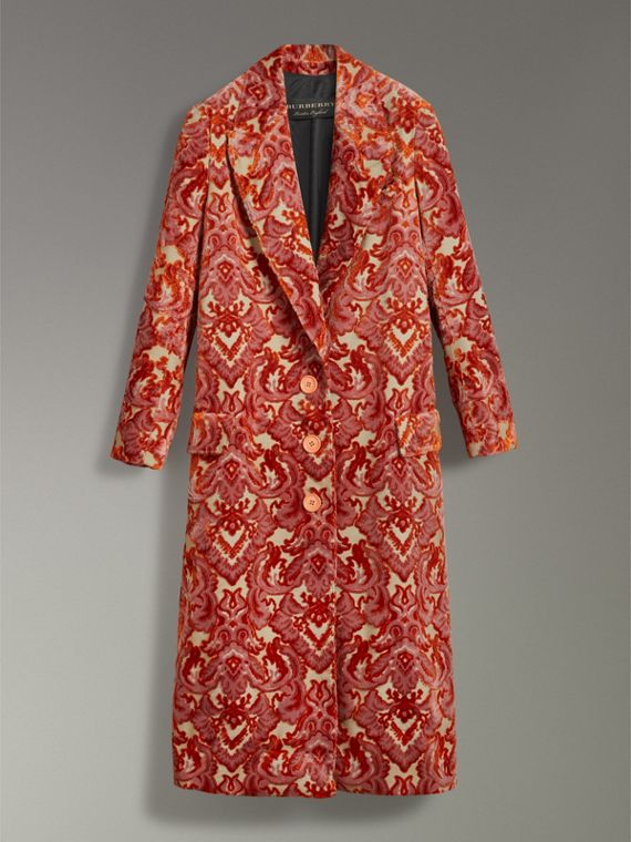 Damask Velvet Jacquard Tailored Coat in Rose Pink - Women | Burberry - cell image 3