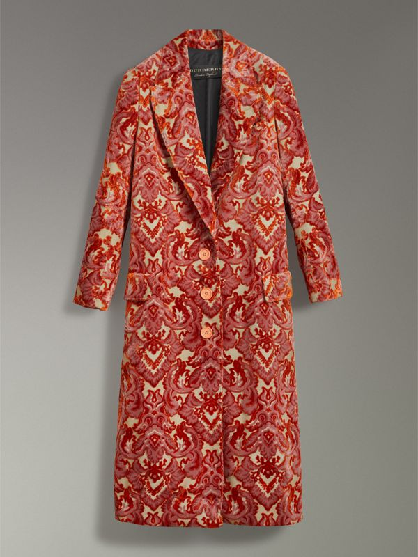 Damask Velvet Jacquard Tailored Coat in Rose Pink - Women | Burberry Canada - cell image 3
