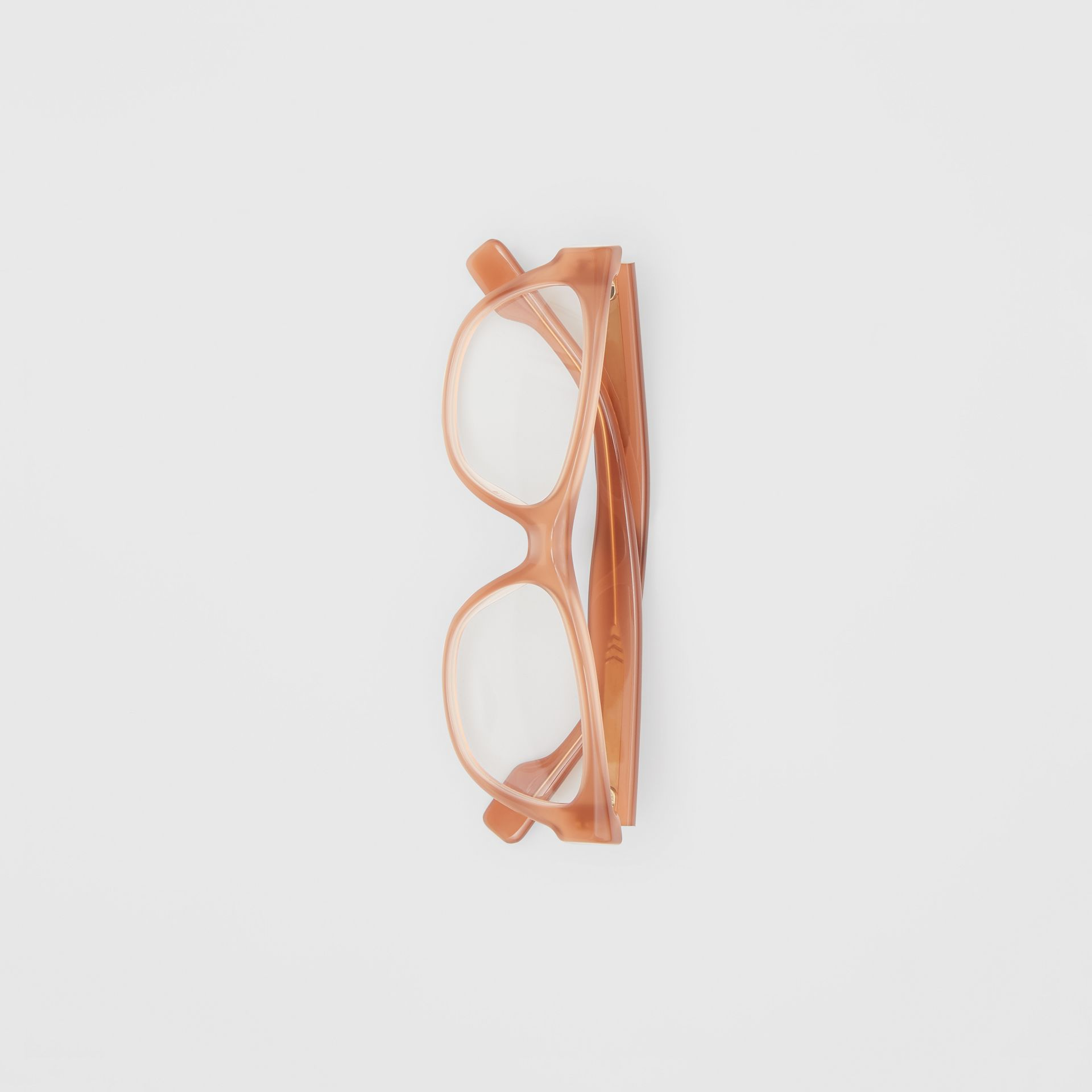 Square Optical Frames in Peach - Women | Burberry - gallery image 3