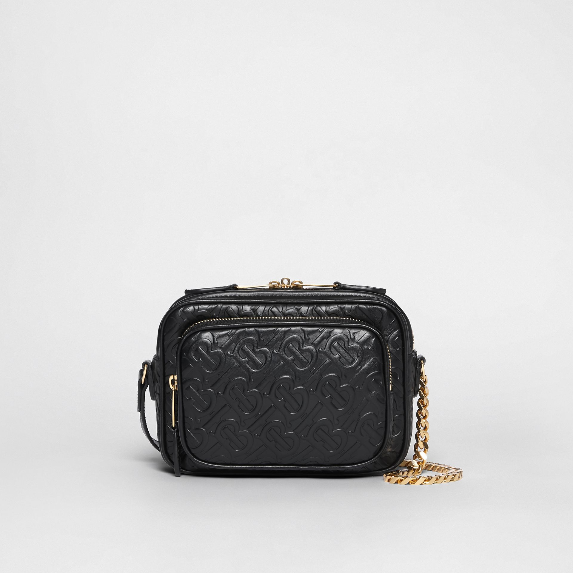 Monogram Leather Camera Bag in Black - Women | Burberry Hong Kong - gallery image 0
