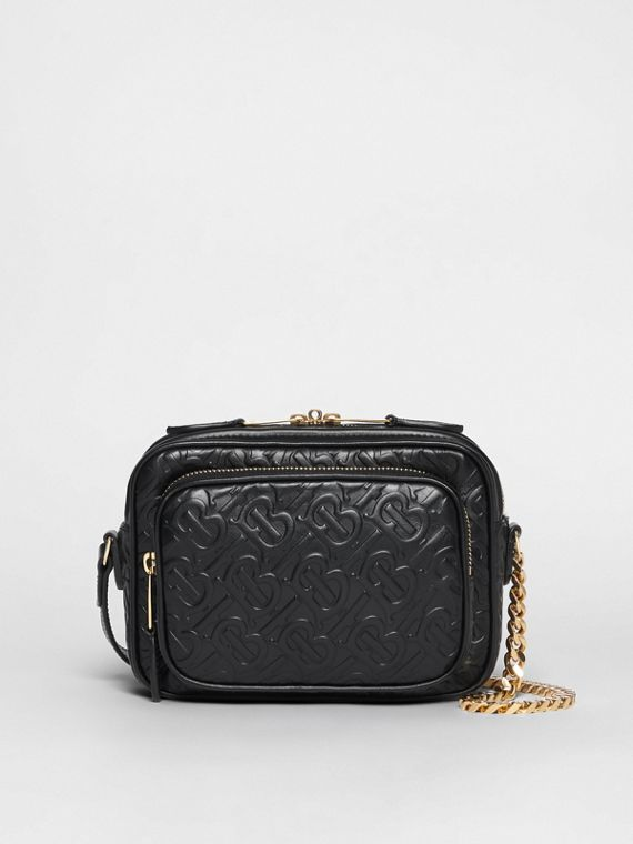 Monogram Leather Camera Bag in Black