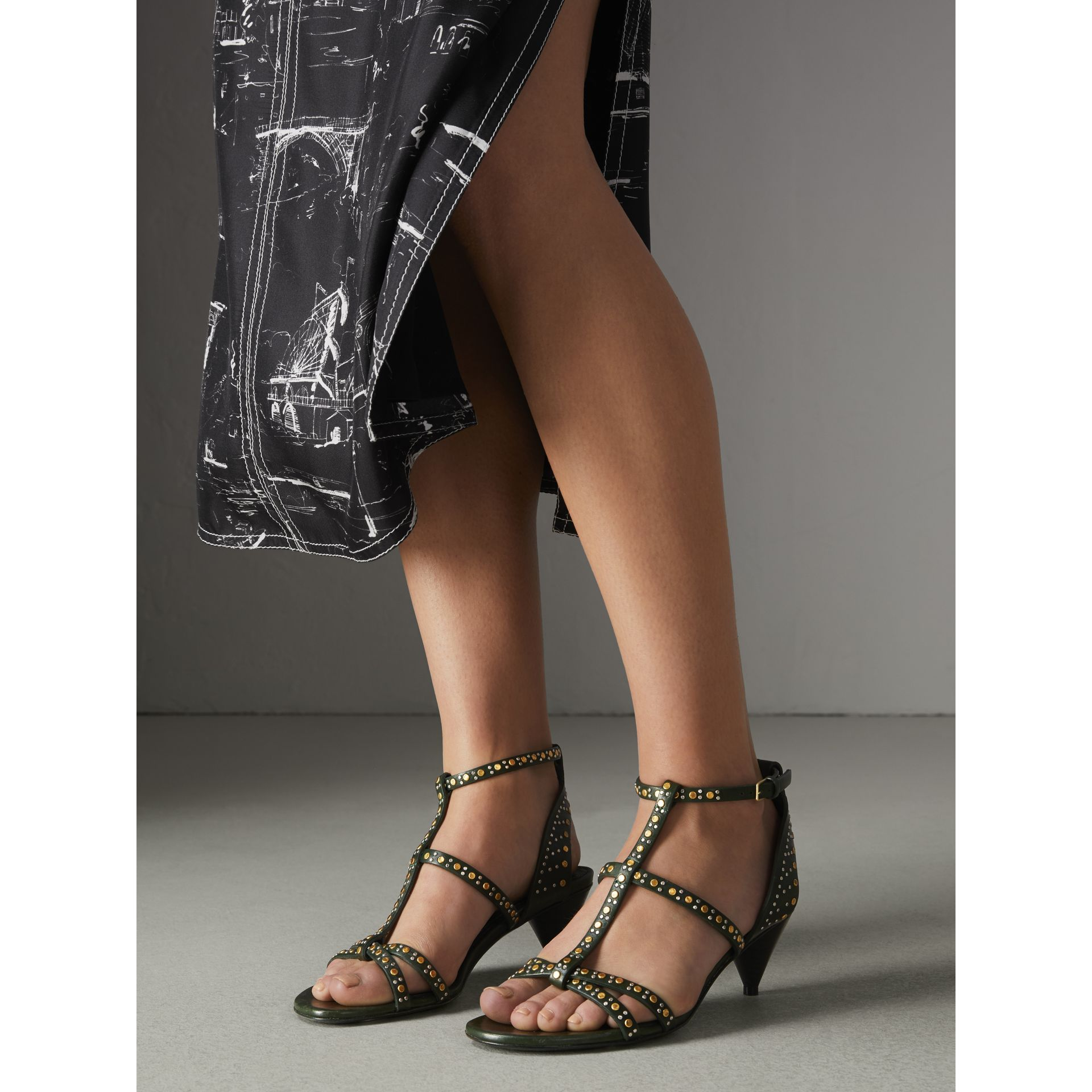 Riveted Leather Cone-heel Sandals in Dark Green - Women | Burberry United Kingdom - gallery image 2
