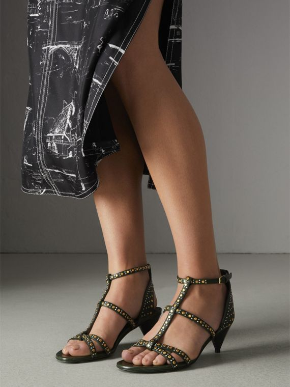 Riveted Leather Cone-heel Sandals in Dark Green - Women | Burberry United Kingdom - cell image 2