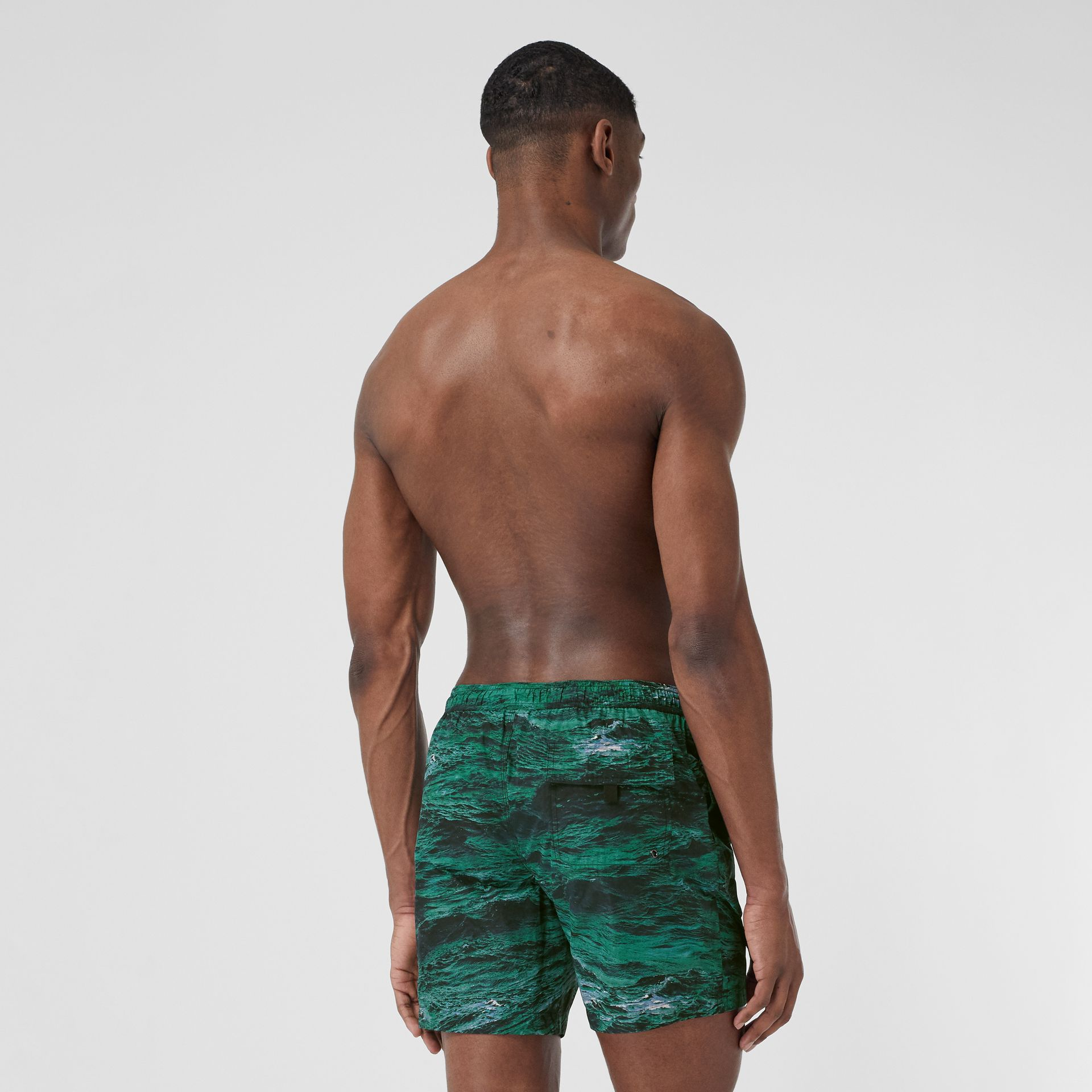 Sea Print Drawcord Swim Shorts in Deep Teal - Men | Burberry - gallery image 1