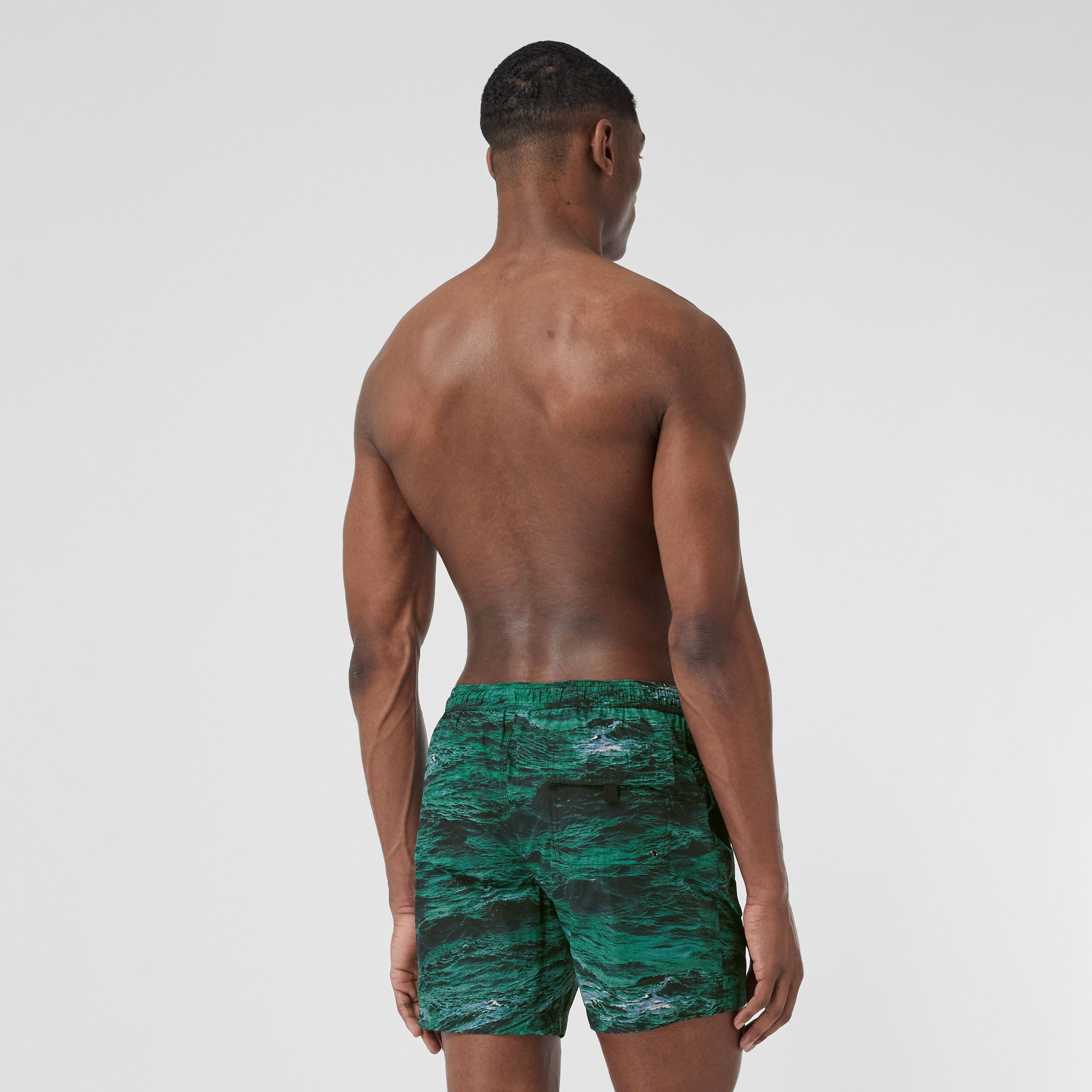 Sea Print Drawcord Swim Shorts in Deep Teal - Men | Burberry - 2