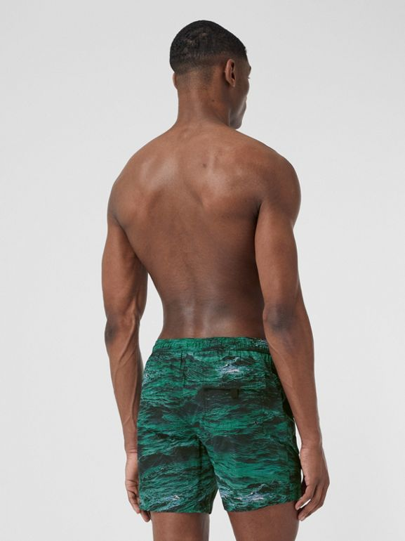 Sea Print Drawcord Swim Shorts in Deep Teal - Men | Burberry - cell image 1