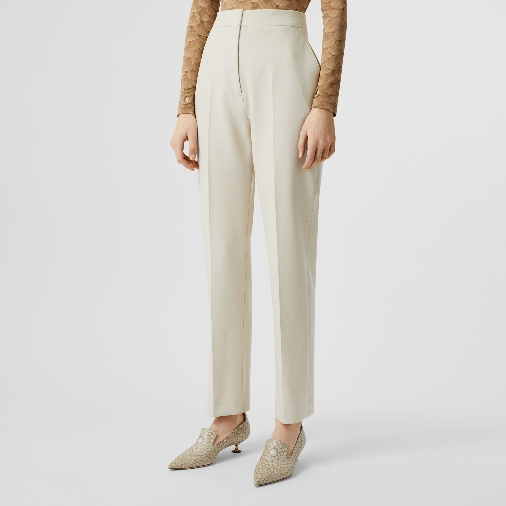 Straight Fit Stretch Wool Tailored Trousers in Pale Ochre - Women | Burberry - gallery image 5