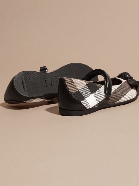 Leather and House Check Ballerinas in Black | Burberry - cell image 3