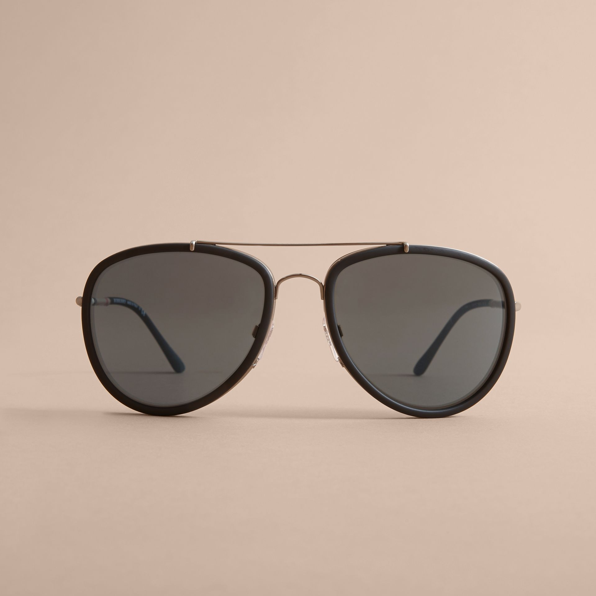 Check Detail Pilot Sunglasses in Blue - Men | Burberry United States - gallery image 2