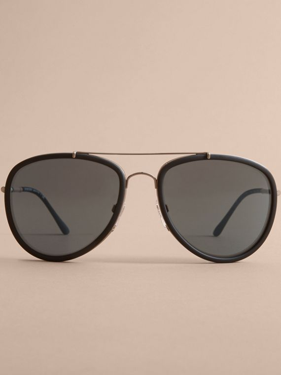 Check Detail Pilot Sunglasses in Blue - Men | Burberry Hong Kong - cell image 2
