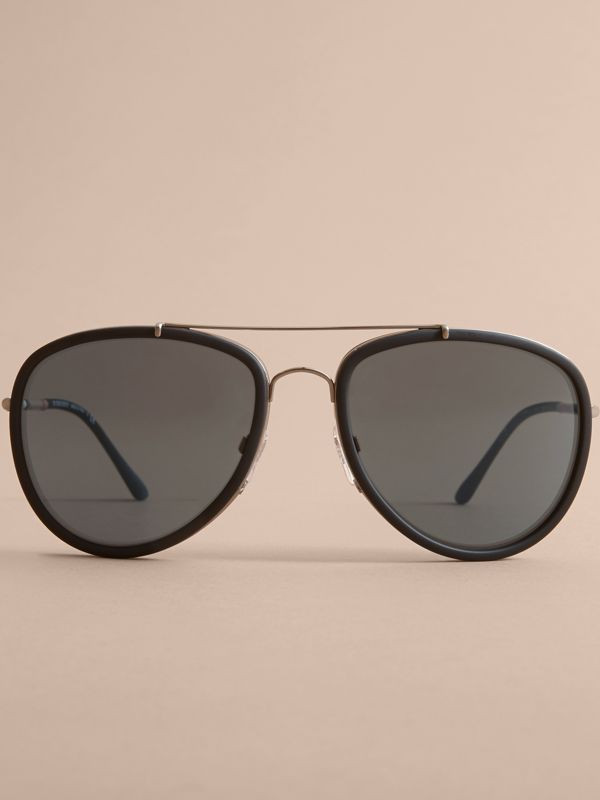 Check Detail Pilot Sunglasses in Blue - Men | Burberry United Kingdom - cell image 2