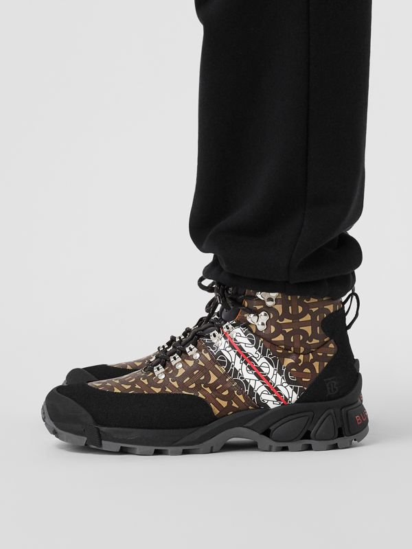Monogram Stripe E-canvas Tor Boots in Black/brown - Men | Burberry United Kingdom - cell image 2