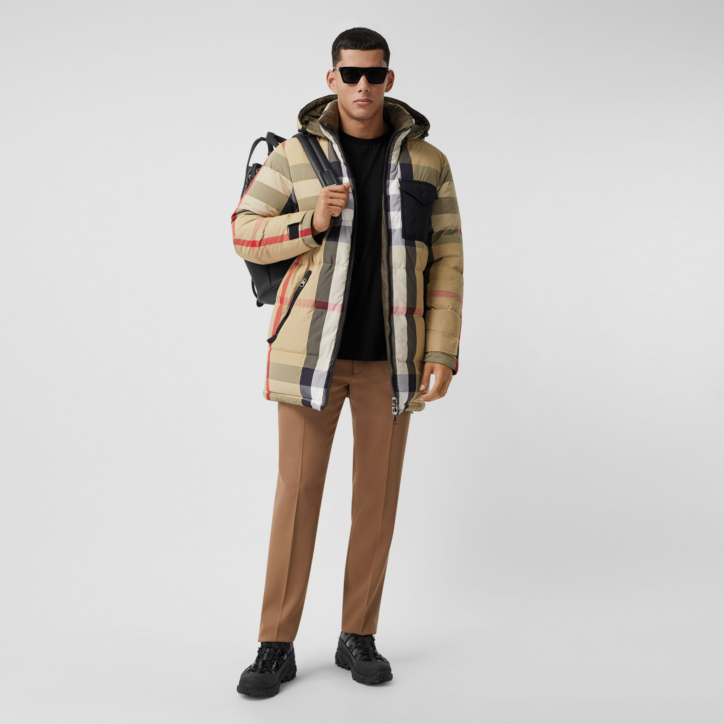 Reversible Check Recycled Nylon Puffer Jacket in Archive Beige/olive - Men | Burberry Hong Kong S.A.R. - 1