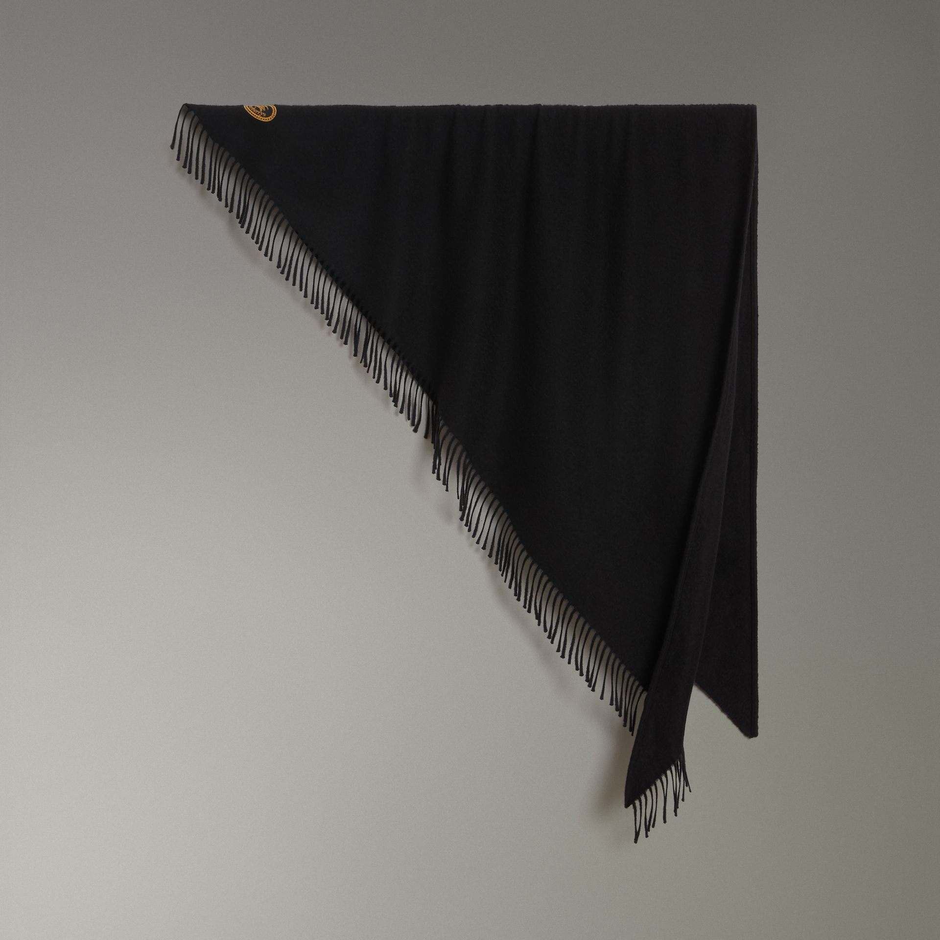 The Burberry Bandana in Embroidered Cashmere in Black | Burberry Canada - gallery image 0