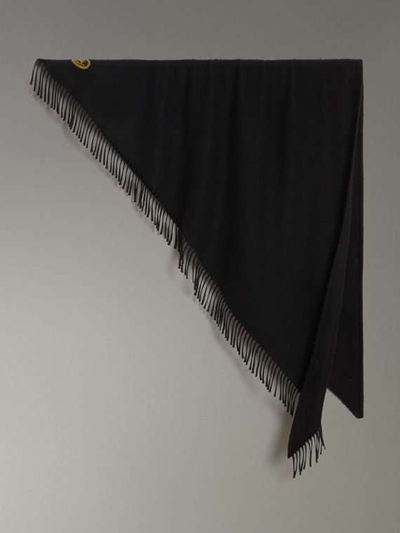 The Burberry Bandana in cashmere con ricamo (Nero)