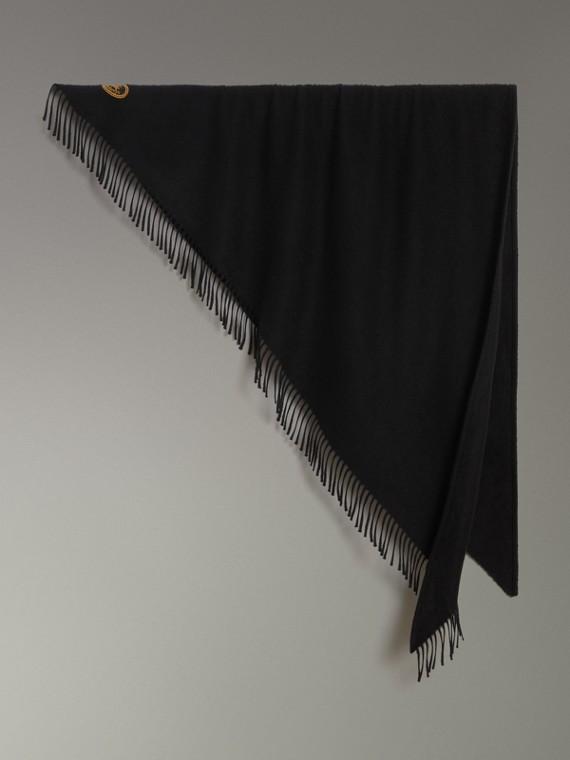 Burberry Bandana 喀什米爾繡飾圍巾 (黑色)