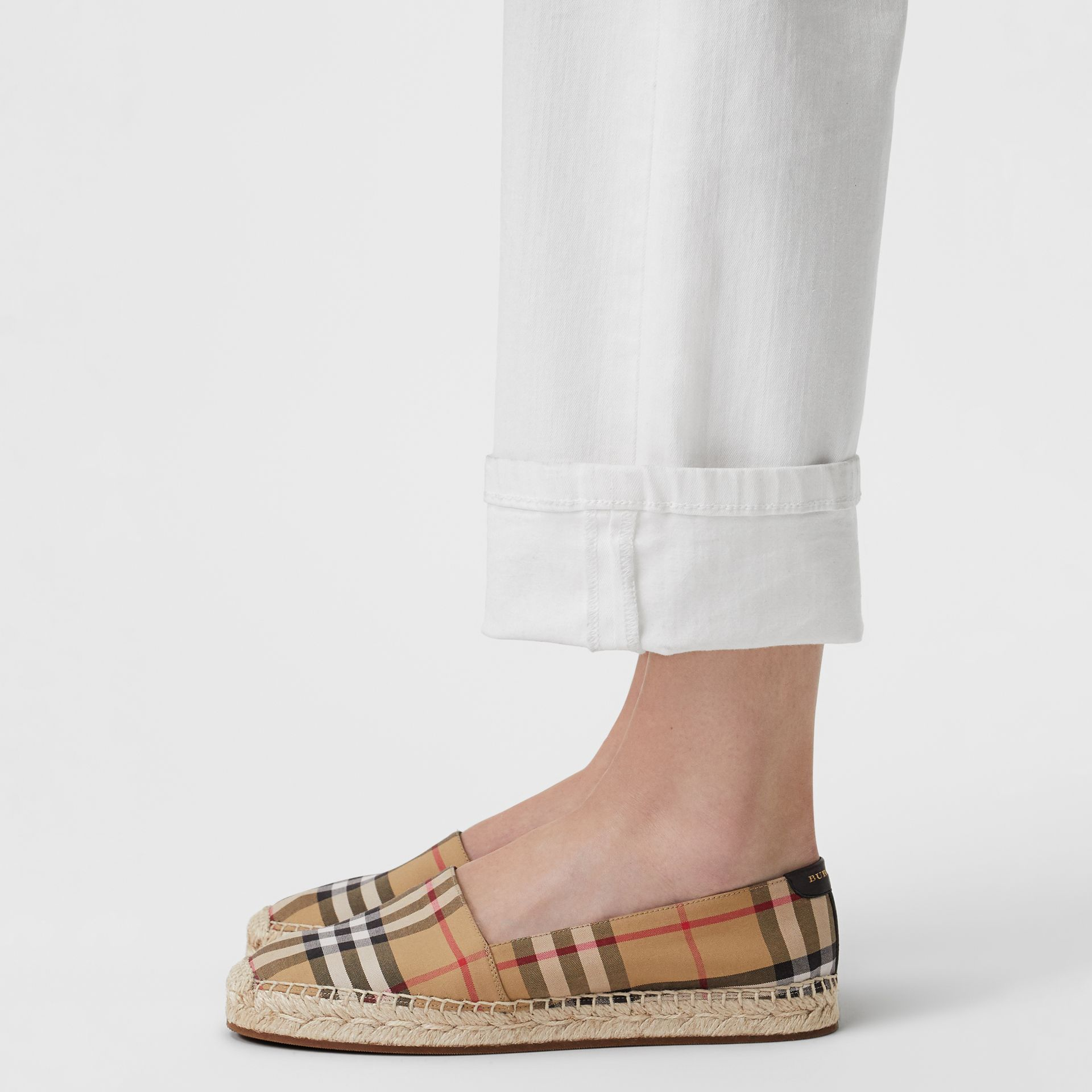 Vintage Check and Leather Espadrilles in Antique Yellow - Women | Burberry - gallery image 2