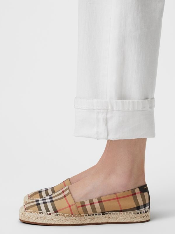 Vintage Check and Leather Espadrilles in Antique Yellow - Women | Burberry Canada - cell image 2