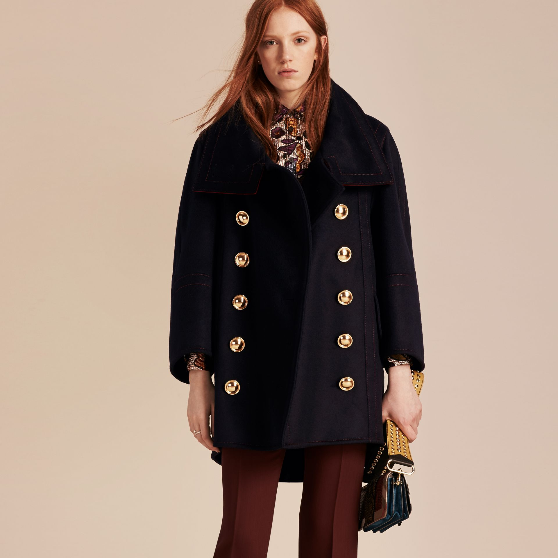 Navy Oversize Cashmere Wool Coat - gallery image 7