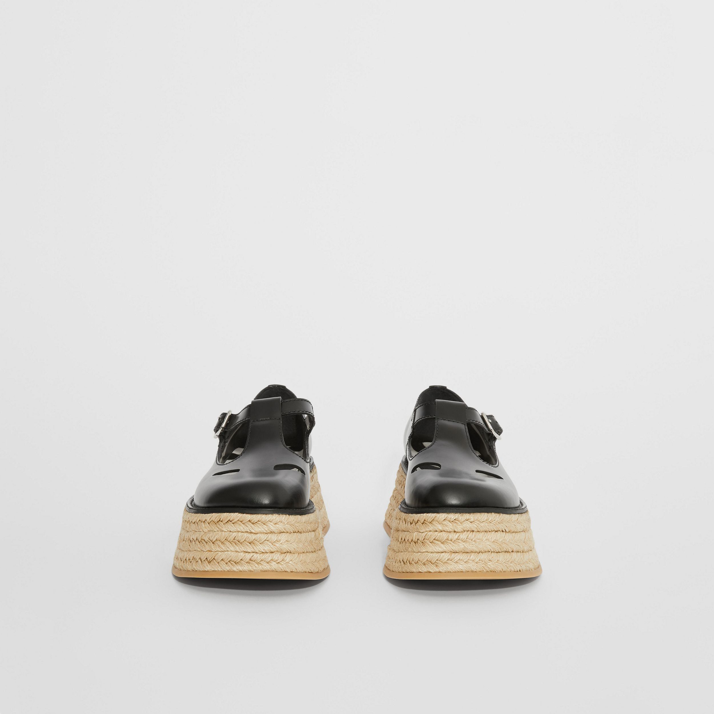 Leather T-bar Shoes in Black - Women | Burberry - 4