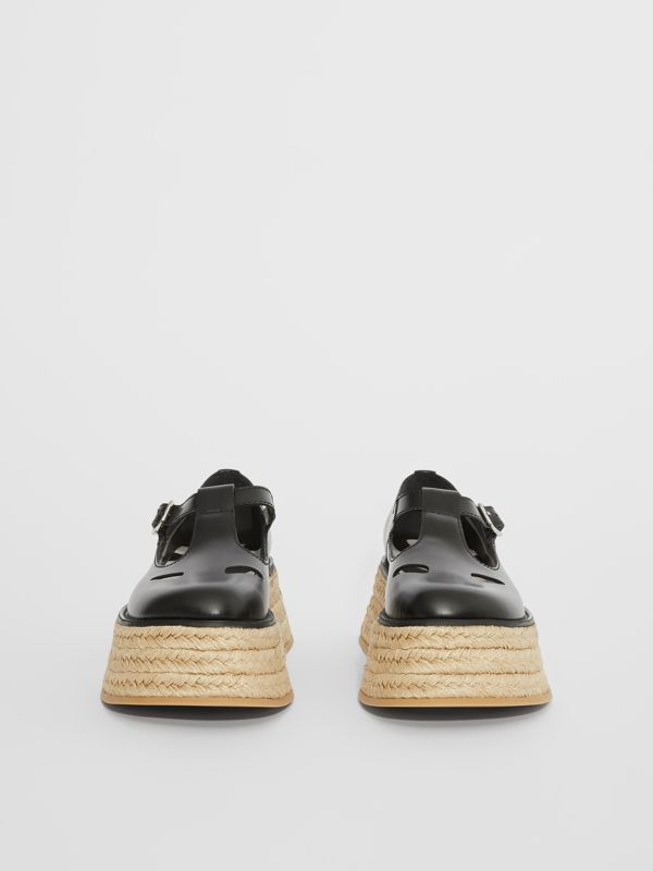 Leather T-bar Shoes in Black - Women | Burberry United Kingdom - cell image 3