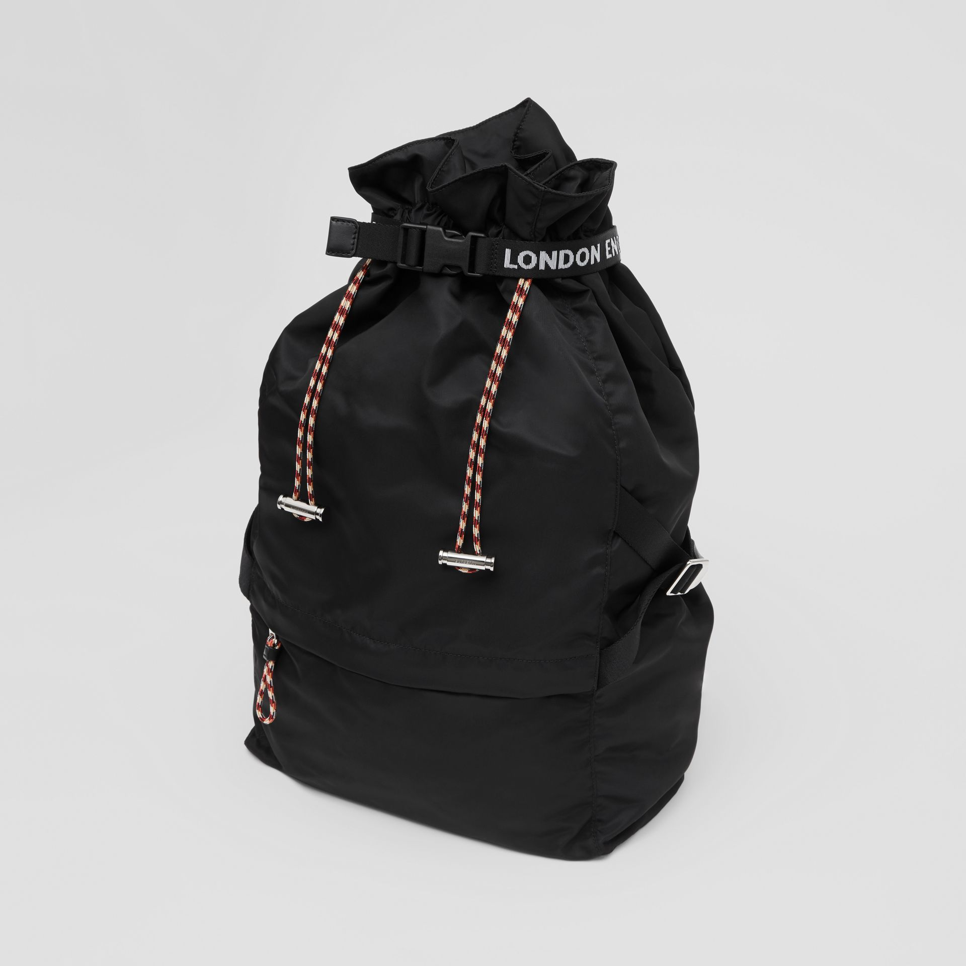 Logo Detail Nylon Drawcord Backpack in Black - Men | Burberry - gallery image 3