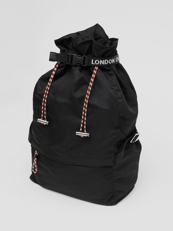 Logo Detail Nylon Drawcord Backpack in Black - Men | Burberry - cell image 3
